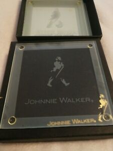 New Johnnie Walker alcohol Coasters Glass x4 set whisky man cave beer memorabili