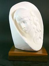 Face Bust Female Girl Artist Signed Plaster Sculpture Wood Mounted