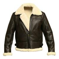 B3 Brown Bomber WWII Pilot Real Full Shearling Sheepskin Leather Winter Jacket