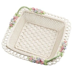 BELLEEK CLASSIC  PERIWINKLE SQUARE BASKET