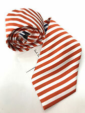 Paul smith orange cravate mainline 6mm burnt orange & blanc rayure lame 8cm