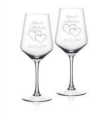 """2x Weinglas mit Wunschgravur """"Herzen"""" Geschenk Hochzeit Jahrestag Valentinstag"""