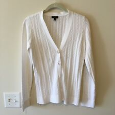 Talbots Misses Sweater White, Cardigan, V-Neck, Light weight, cable pattern, EUC