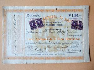 BOLIVIA Banco Nacional Bolivia 1000 Bs share certificate Sucre 1908 scarce bank