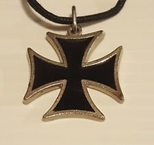"""IRON CROSS Silver Pewter Pendant Charm / 26"""" Adjustable Necklace U.S.A."""