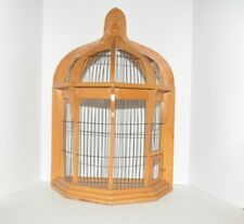 Vintage Bird Cage Wood & Metal Wire Wooden House Display Decor Shabby Chic