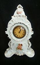Antique Wind Up Carlsbad Victoria China Porcelain Cherub Clock