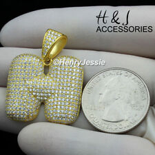 """MEN 925 STERLING SILVER ICED BLING GOLD BUBBLE INITIAL LETTER """"H"""" PENDANT*AGP203"""