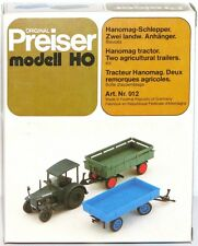 Preiser H0 912 Hanomag-Schlepper + zwei landwirtschaftliche Anhänger - NEU + OVP
