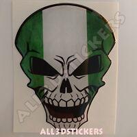 Pegatina Calavera Bandera Nigeria Adhesivo Relieve Coche Moto Skull 3D