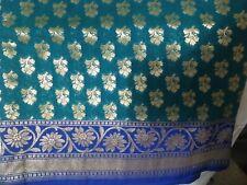 Sari de seda pura BANARASI Hermoso Blusa Elegante asiático Verde Turquesa