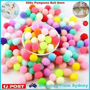 500x DIY Mixed Colour Mini Soft Fluffy Pom Poms Pompoms Ball 8mm for Kids Tool A