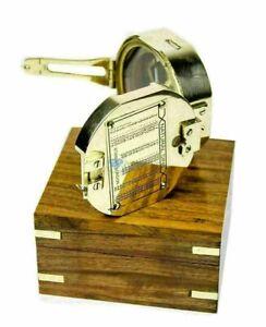 NAUTICAL BRUNTON BRASS COMPASS STANLEY LONDON COMPASS WITH WOODEN BOX