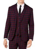 INC Mens Blazer Burgundy Red Medium M Two-Button Slim-Fit Tartan Plaid $129 148