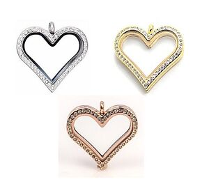 Stainless Steel Large Classic Crystal Heart Memory Floating Locket Necklace