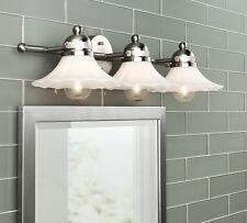 3 Light Vanity Bathroom Wall Lighting Fixture White Glass Shade Brushed Nickel