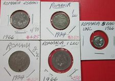New listing Romania. Vintage Lot Of 5 Assorted Coins. 1924-1966. See Pics.