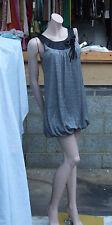 Gorgeous Slightly Metallic Charcoal Grey Puffbakll Hemline Short Dress S/M 8-10