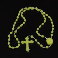 SKY GREEN PLASTIC LUMINOUS GLOW IN THE DARK ROSARY BEADS NECKLACE JEWELRY