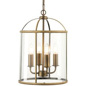 4 Light Hanging Ceiling Pendant –Brass & Glass Lantern Shade– Lamp Bulb Holder