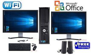 """Dell Desktop PC Computer Core 2 Duo 500GB, 4GB DUAL 19"""" LCDs WiFi Windows 10"""