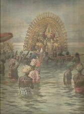K0748 La festa del Durga Puja a Calcutta - Stampa antica