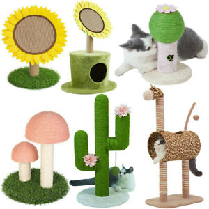 Cat Cactus Sunflower Scracthing Post Interactive Toy Scratcher Climbing Stand