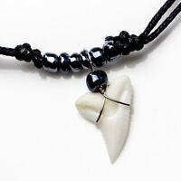 Genuine blue shark tooth necklace gun metal grey souvenir collectable beach c9