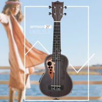 ammoon Acoustic Soprano Ukulele 4 Strings with Built-in Electric EQ Pickup