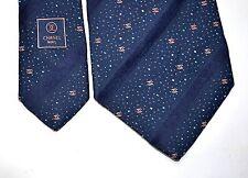 Chanel Neck Tie Cravatta Cravate Monogram Logo Chain Blue Striped Silk Auth