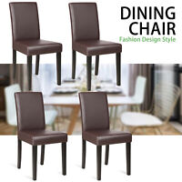 Set of 4 Kitchen Dining Chairs Leather Cushion Side Chairs Tufted Backrest Brown