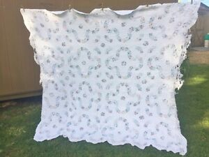 """Cutter Quilt Wedding Ring Pattern 90"""" x75"""" White Crafts For Cutting Queen Size"""