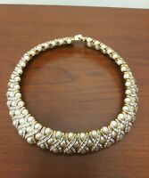 Gorgeous Faux Pearl Rhinestone Gold Tone Choker Necklace MN China