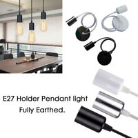 Pendant Light E27 Screw Ceiling Rose Light PVC Fabric Flex Holder earth Fitting
