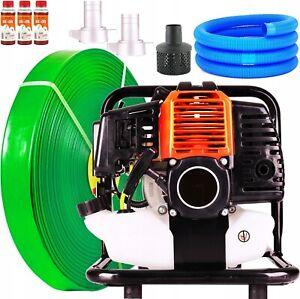 Benzin Wasserpumpe 5,2 PS Gartenpumpe 2Takt Motorpumpe 1'' + 2x Schlauch B-ware