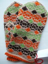 Latvian hand knitted 100% wool mittens,  tan/orange/green/brown (size M)