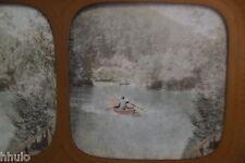 STA454 Tyrol Barque bateau montagne STEREO photo albumen transparente colorisé