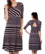 Ladies Multicolor Stripe 3/4 Slv A-Line Dress Size 8 S 10 M 12 L BLUE PURPLE NEW
