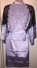 VICTORIA'S SECRET Robe LILAC SILVER & BLACK Angel's Wing Rhinestone M/L NEW Sexy
