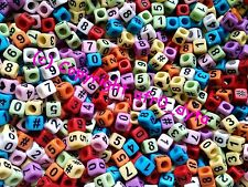100 Opaque Coloured Mixed Numbers Cube Beads 6mm For Jewellery BUY 3 FOR 2