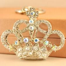 Silver Crown Keyring Keychain Crystal Charm Cute Gift Accessory Present 01019