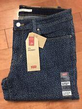 NWT-Women's Levis 711 Mid-Rise Skinny Jeans Leopard Animal Print Sz 31 US 12