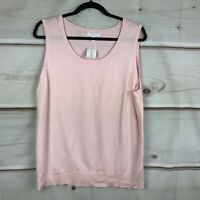 Charter Club Sleeveless Crew Neck Sweater Womens Size XL Solid Pink Tank Top NWT