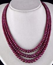 3 LINE 602 CTS NATURAL UNTREATED RUBY ROUND GEMSTONE BEADS FOR LADIES NECKLACE