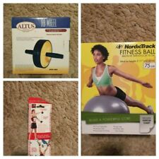 Pilates Power Band + NordicTrack Fitness Ball 75 + Ab Wheel Home Gym Equipment
