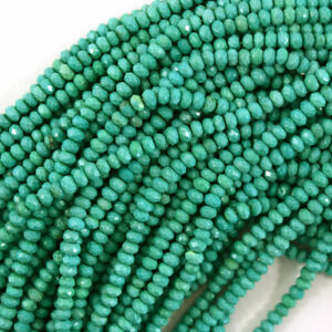 """Faceted Green Turquoise Rondelle Button Beads Gemstone 15.5"""" Strand 3mm 4mm 6mm"""