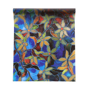 Frosted Static Cling Stained Floral Glass Window Film Sticker Privacy Decal UK