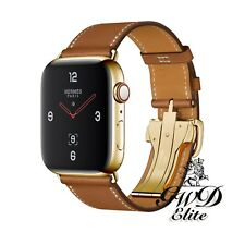 Series 4 Hermes Apple Watch Single Tour Fauve Deployment 24K Gold Plated 44mm