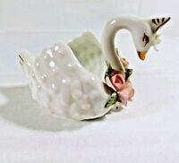 Miniature Swan Lefton China Floral Hand Painted Farmhouse Chic