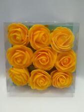 Rosen 4 cm 9 Schaumrosen  dunkles Gelb Deko-Rosen